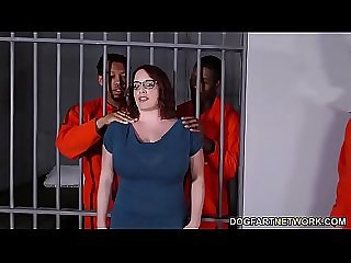 Busty Maggie Green Has Interracial Threesome In Jail