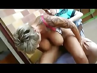 Busty German Milf fuck Young Neighbor for the first Time
